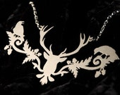Animal Jewelry - Silver Deer necklace in stainless steel - stag necklace - holiday deer jewelry - deer head animal jewelry