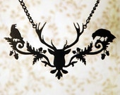 Deer necklace in black stainless - victorian stag statement jewelry with ravens Halloween necklace - woodland jewelry