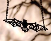 Halloween necklace - Filigree Bat necklace in black stainless steel - bat pendant - gothic necklace - black bat jewelry - halloween jewelry