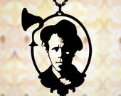 PREORDER - Tom Waits cameo necklace in black stainless steel - Rock and Roll Hall of Fame 2011