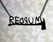 REDRUM necklace with axe inspired by The Shining in black stainless steel - horror jewelry
