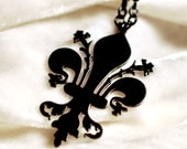 Fleur de lis necklace in black stainless steel