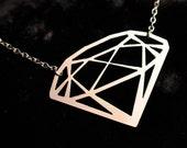Fake Diamond Necklace in silver stainless steel - Geometric Necklace Traingle Necklace - Minimalist Jewelry, Geometric Jewelry