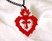 Flaming Sacred Heart necklace in red stainless steel - silhouette heart pendant