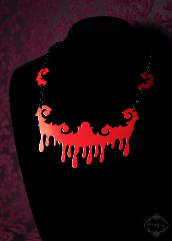 Baroque Drip collar necklace - choker in red stainless steel - statement jewelry