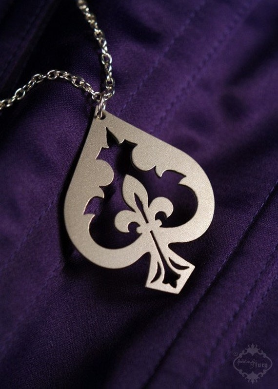 of spades jewelry items similar to fleur de lis spade necklace in silver 4724