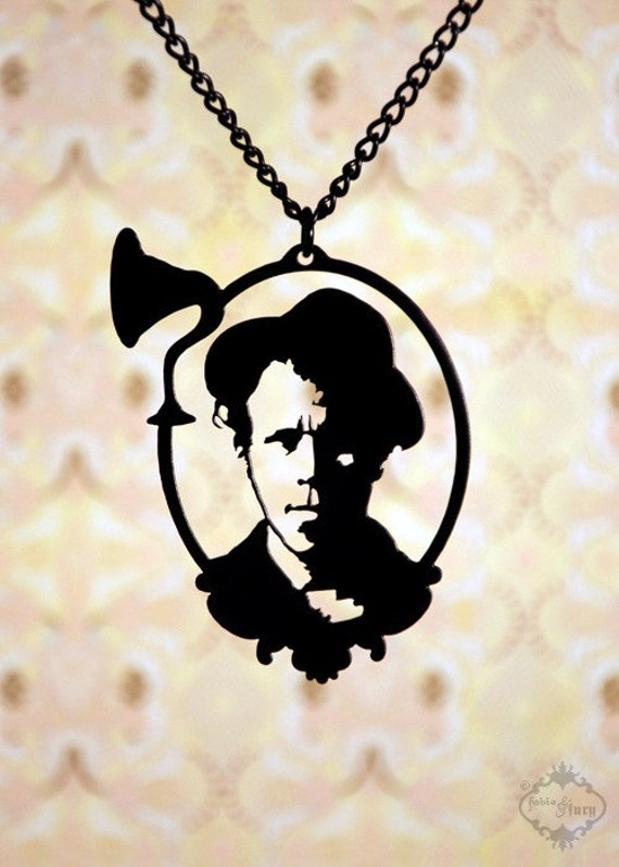 Tom Waits tribute portrait necklace in black stainless steel - musician jewelry