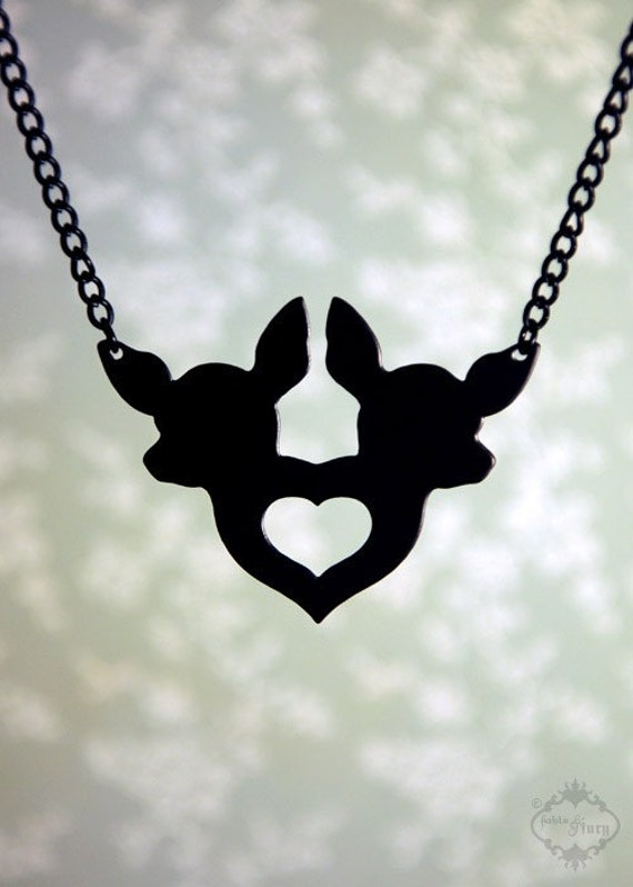 Twin Chihuahua and heart silhouette necklace in black stainless steel - pet jewelry, dog jewelry, friendship necklace