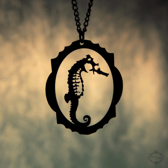 Seahorse necklace in black stainless steel - nautical fashion seahorse silhouette steampunk jewelry