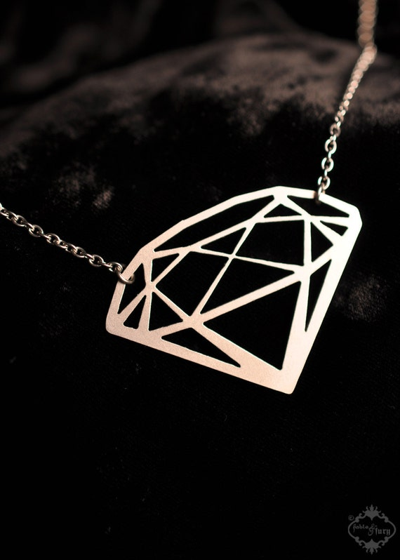 Diamond Silhouette Necklace In Silver Stainless By