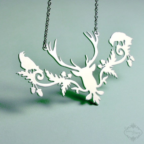 Woodland deer statement necklace in bone white stainless steel - lacey off white bird wedding jewelry