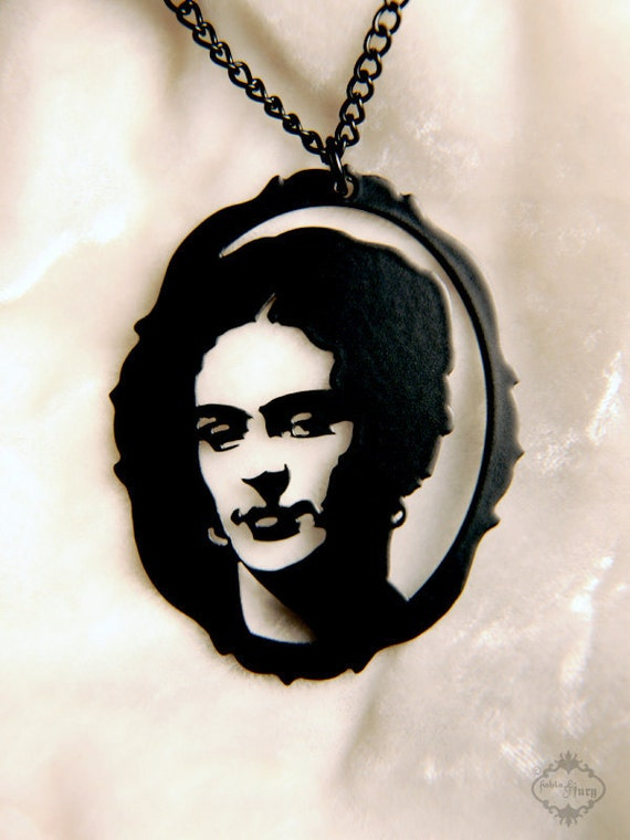 Frida Kahlo homage silhouette necklace, portrait pendant in black stainless steel
