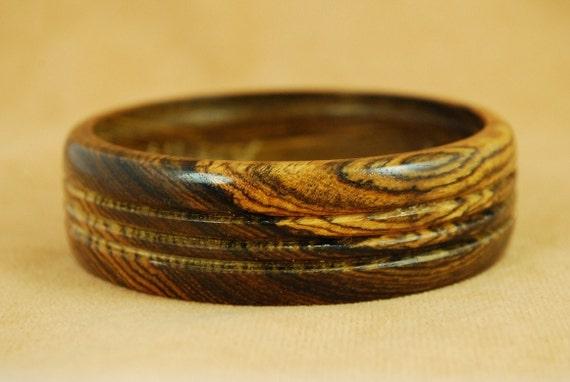 Handmade Wooden Bangle Bracelet, Mexican Bocote Wood, Exotic, BRAC-135