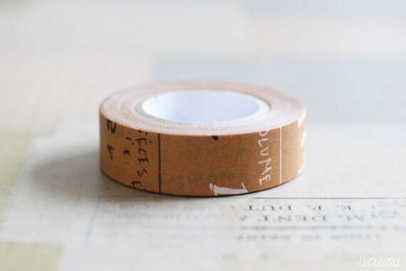 CRAFT log Graffiti Masking Tape Single Roll (Brown) Japanese Washi Tape