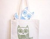 SALE Owl large shopper - in green