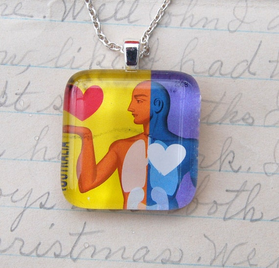 He gave me his Heart,  Upcycled Postage Stamp Jewelry/Jewellery, Sterling Silver Chain