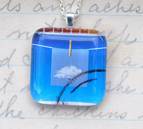 The Cloud on my Clothesline, Upcycled Postage Stamp Jewelry/Jewellery, Sterling Silver Chain
