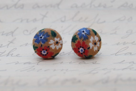 Red, White, Blue Flower on Brown, Fabric Stud Earrings