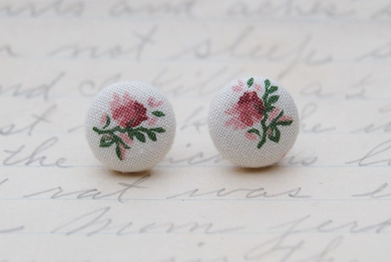 Pink Rose on White, Fabric Stud Earrings