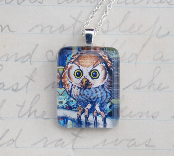 Owl - Upcycled Postage Stamp Jewelry/Jewellery, Sterling Silver Chain