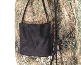CUSTOM Tiny black silk bag with shoulder strap