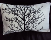 Lumbar pillow black tree silhouete Throw pillow cushion covers cases shams fabric covers UK designer fabric One 12 x 18 inch handmade