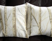 Throw pillows Silver birch trees Cushion covers cases designer fabric cream beige brown Two 18 x 18 inch