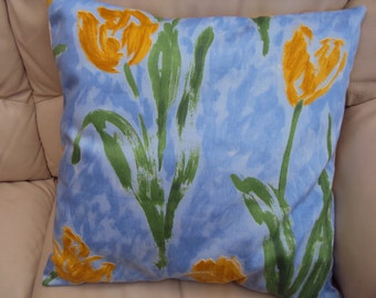 Pillow Yellow Spring tulips blue green yellow cushion cover 16 18 or 18 x 12 inch