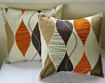Pillows orange brown beige geometric shapes design cushion shams UK designer fabric covers Two 16  handmade