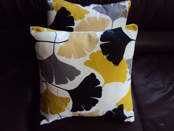 Throw Pillow Yellow Mustard Black Grey Gray Fan Pattern By