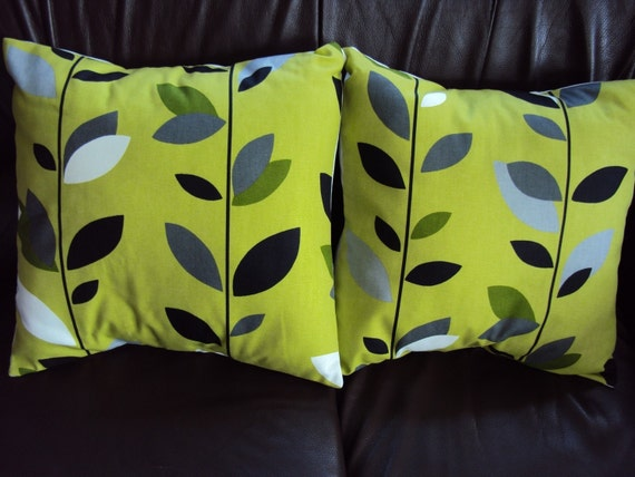 Throw pillow green black grey gray white leaf pattern by VeeDubz