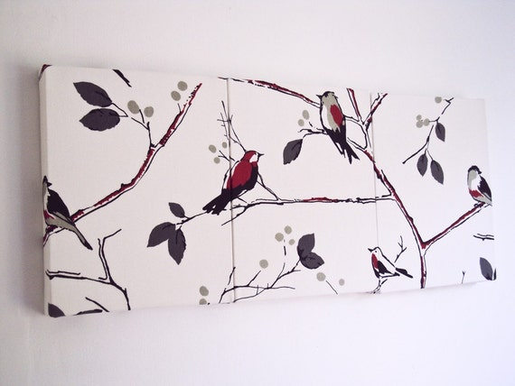 Red Bird Wall Decor : Items similar to wall art red birds branches fabric