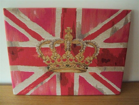 Wall Art Union Jack pink and crown tapestry fabric wrapped frame 40 x 30 cms 16 x 12 inches  wall decor wall hanging