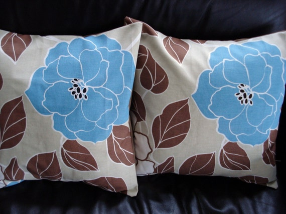 Throw pillow blue flower brown leaves Cushion covers cases shams UK designer fabric Two 18 x 18 inch handmade