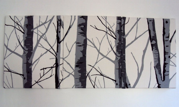 Wall art Silver Birch gray grey tree design tryptich contemporary modern print  fall winter wall hanging canvases panel fabric wall decor
