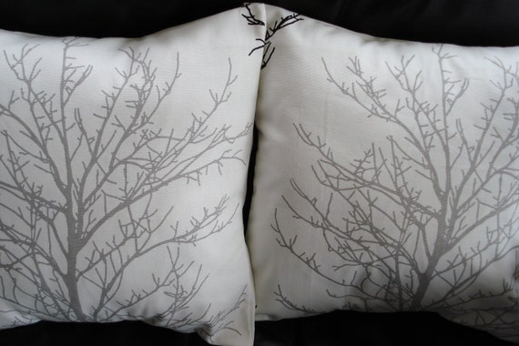 Throw Pillow Silver Gray Grey Tree Silhouete Cushion By