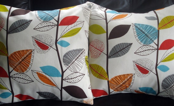 Decorative pillow turquoise blue red orange yellow green brown gray grey leaf  cushion shams UK designer fabric Two 18 x 18 inch