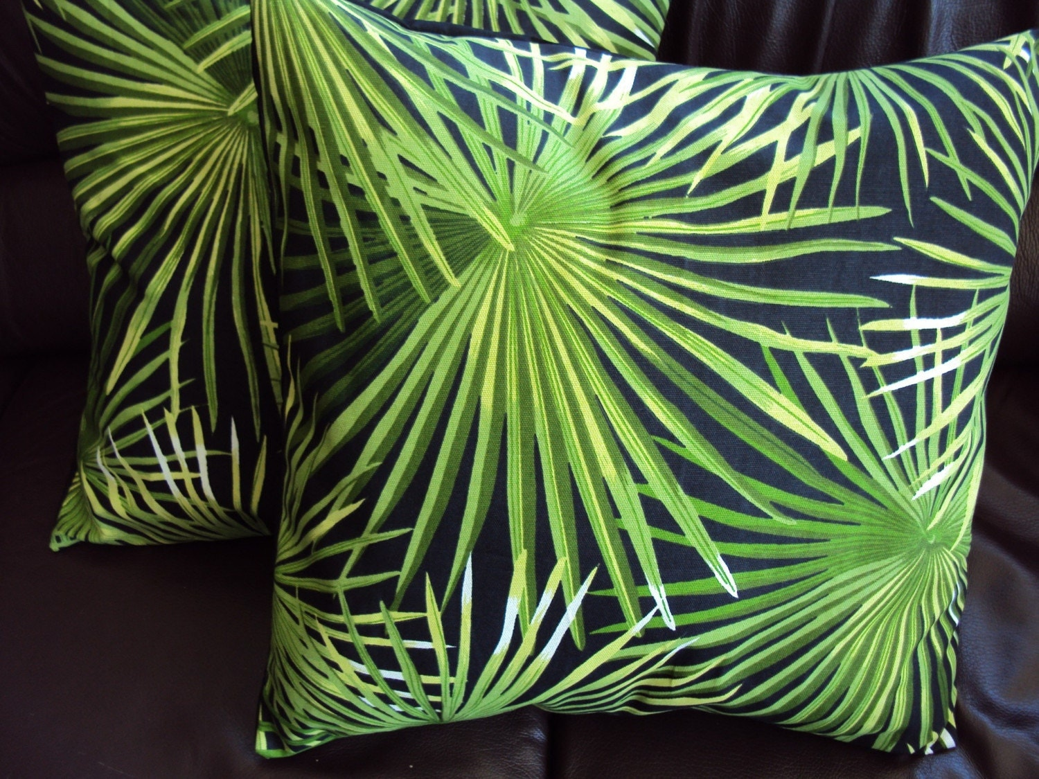 Throw Pillow Green Palm Leaves Pattern Cushion Covers By Veedubz