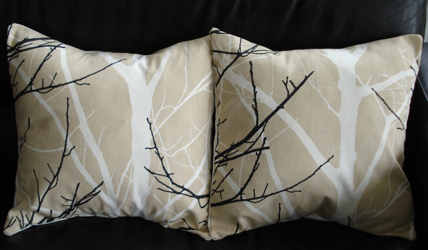 Black White Tan Throw Pillows : Throw Pillows White black Tree Print Design on beige by VeeDubz
