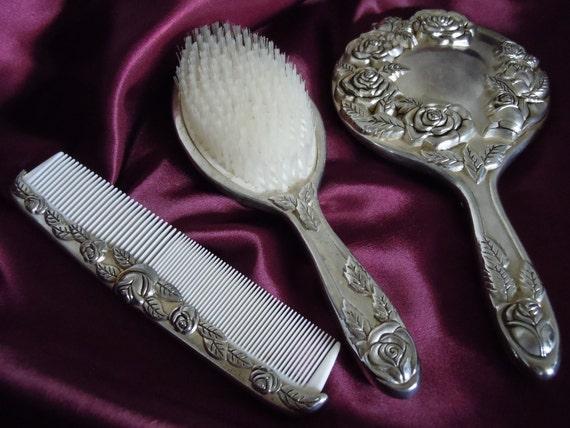 Vintage 1940s Godinger Silver Art 3 Pc Vanity Set Mirror Brush