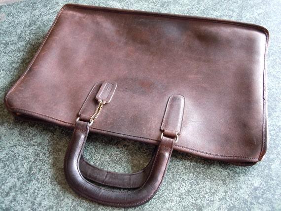 Vintage Coach Leather Briefcase Messenger Tote