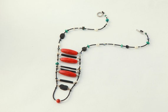 Ladder Necklace GODDESS of the SEA  red and black coral native american indian inspired one of a kind hand-made