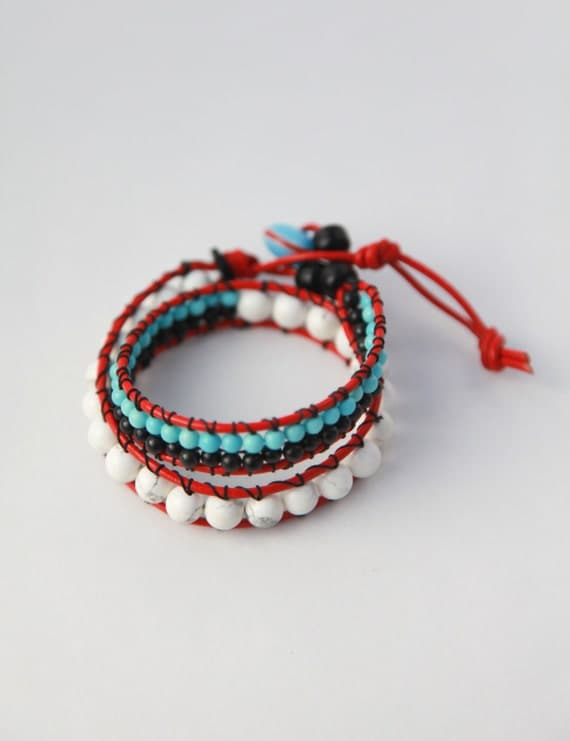 CHOKER or WRAP bracelet  // southwest Native American Indian inspired colors, white, black, red, turquoise, red leather