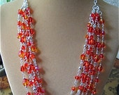 SALE Flaming Red Multi Strand Necklace
