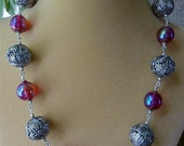 Antique Silver & Ruby Glass Necklace