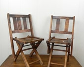 Vintage Pair 40s Wooden Children's Folding Chairs ..... Poppet Squats