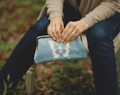 Blue Linen Butterfly Embroidered Clutch Purse