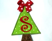 Christmas tree with Letter and Bow applique - DIY iron on patch - Sew or no sew - Personalized monograming- U pick letter and colour