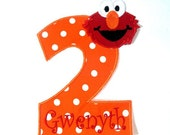 Orange polka dot Number 2 elmo head iron on applique - DIY iron on patch - Personalized Monograming - U pick number and colour - MadiAndBill