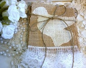 WEDDING burlap banner with Doves and lace